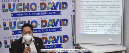 Luis Arce presenta un proyecto de ley de devoluci贸n de aportes a las AFP