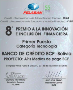 El BCP gana Premio de Innovaci贸n de la Federaci贸n Latinoamericana de Bancos