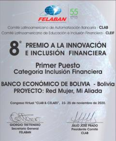 Banco Econ贸mico, gana primer lugar del Premio de Innovaci贸n e Inclusi贸n Financiera