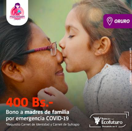Banco Ecofuturo pag贸 a m谩s de 20.000 mujeres el Bono Madre en Oruro